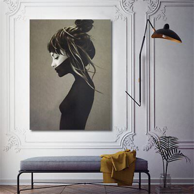 Nordic Art Quiet Girl on Canvas Print Painting Home Wall Poster Decor Unframed