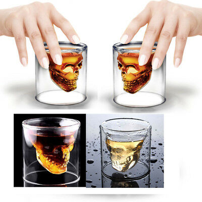 Novelty Double Layer Skull Head Drinking Cup Shot Glass Fr Whiskey Wine Beer AU