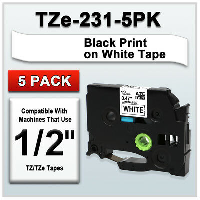 2018 5Pack Black on White Label Tape 12mm For Brother TZe-231 Tz 231 P-Touch 8m