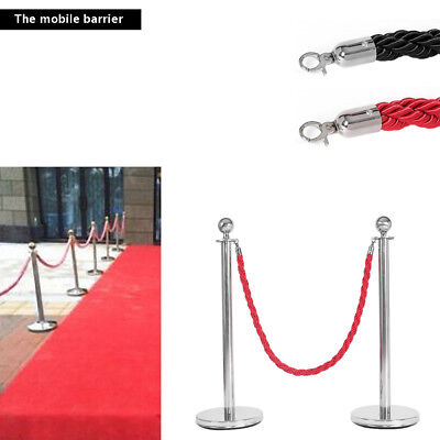 Polished Steel Queue Rope Barrier Twisted Rope Stanchion Posts Stands Set/ Rope