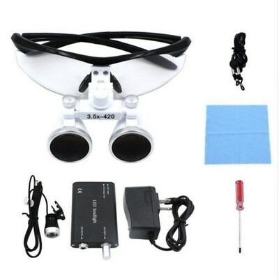 Dental Loupes 3.5X Surgical Glasses Magnifier with LED Head Light Lamp US STOCK