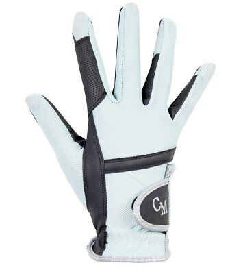 Mesh Riding Gloves -Soft Powder- Aqua/grey