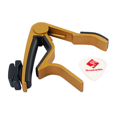 Metal Guitar Capo with Pick Holder+2pcs Picks for Acoustic Electric Guitar