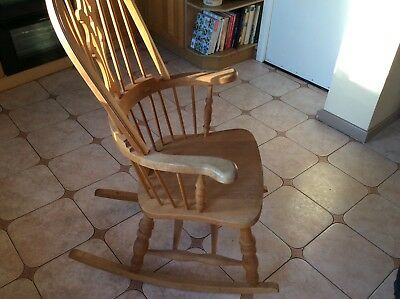 Excellent Antique Pine Farmhouse Kitchen Rocking Chair High Backed Onthecornerstone Fun Painted Chair Ideas Images Onthecornerstoneorg