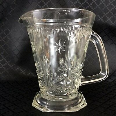 Large Art Deco Glass Jug Pitcher 1930s 40s  Clear Lemonade Cordial
