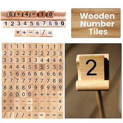 100 X Wooden Scrabble Tiles Board Number & Symbol for Various Crafts Game Play