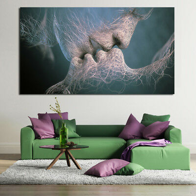 Abstract Kiss colorful Love Painting Classical Canvas Print wall art home decor