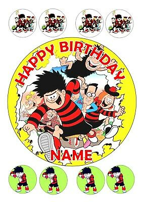 Dennis The Menace  Birthday Topper Round  7.5 + 8 Edible Iced Icing   Topper