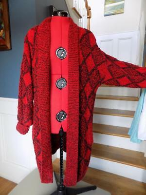 Iconic 80s Sweater Coat Black and Red Yarn Works Size M Pockets Drop Shoulders