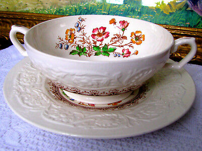 Booths Corinthian Wild Rose Cream Soup Bowl & Saucer c1930s Two Handled Embossed