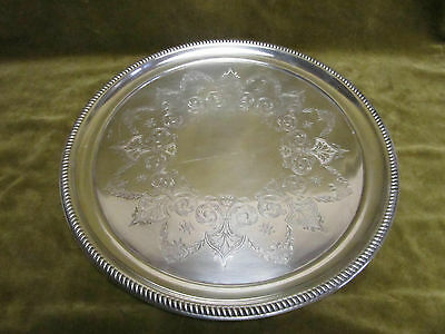 spanish 915 silver large round tray 880gr oriental style (after 1934) d 35,7cm