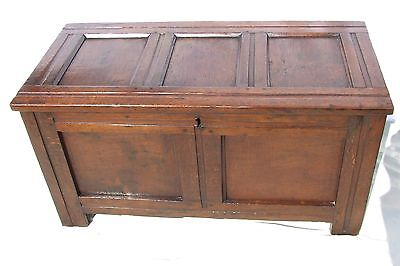 Small Early Antique Panelled Oak Coffer Blanket Box Chest Toy Shoe Storage c1700