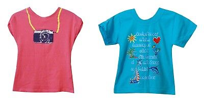 Baby Girls FCUK Mauritius Summer Beach 2-Pack Pink Blue T-Shirt Age 18-24 Months
