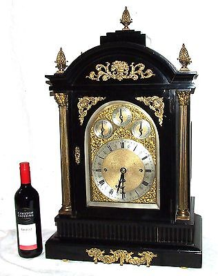 Massive Triple FUSEE Musical Mantel Bracket Clock on 8 Bells & Westminster Chime