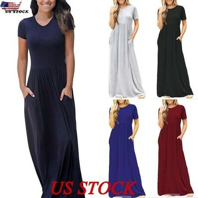 Womens Plus Size Summer Loose Short Sleeve Soild Casual Long Maxi Dress  #59