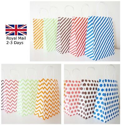 12 Luxury Paper Party Gift Bags Polka Dot/Chevron/Stripe Kraft With Handles