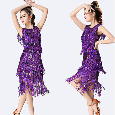 Ballroom Latin Tango   Dance Dress Competition Sequins Fringes Skirt