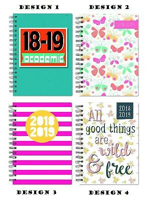 2018 2019 A5 Week to View Academic Mid year Spiral PVC Student Teacher Diary