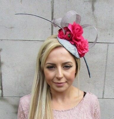 Grey Hot Pink Rose Flower Quill Feather Pillbox Hat Fascinator Races Hair 5599