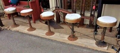 Vintage LOT OF 5 Diner Soda Fountain Counter Stools  Cast Iron