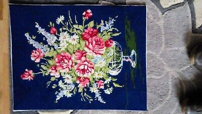 Completed tapestry needlepoint, floral 35cm x 45cm  exc.cond.