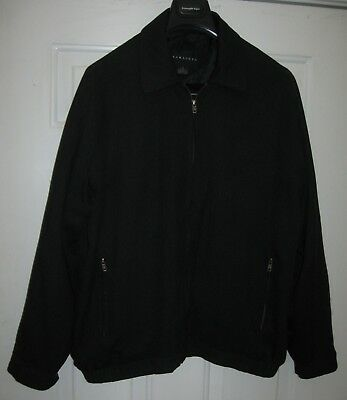 Baracuta Men's Black 100% Silk  Zip-Up Bomber Jacket Size Xl