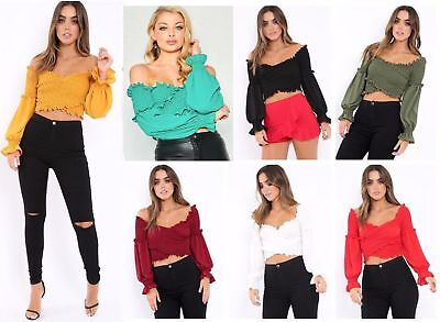 Womens Ladies Ruffle Frill Shirred Wrap Cross Over Body Bardot Smoked Crop Top