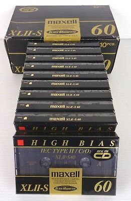 maxell xl II-s 60 cassette new factory saled, 10 cassette nuove sigillate RARE