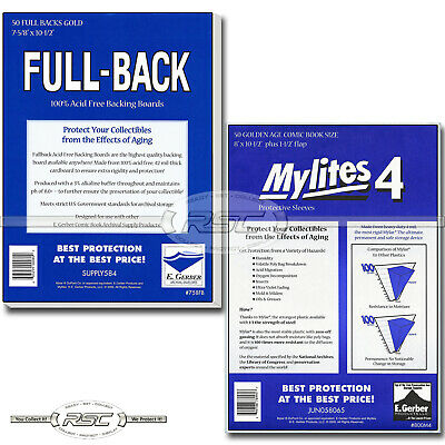 50 - Full-Back & Mylites 4 Golden Age Mylar Comic Bags & Boards by E. Gerber