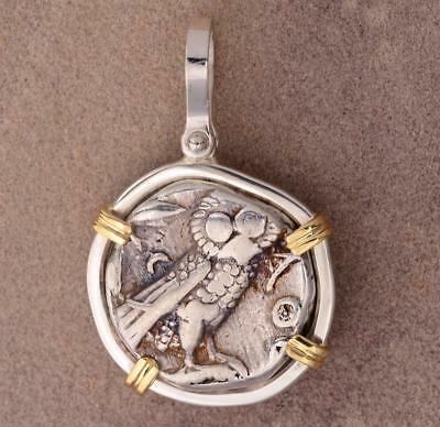 Ancient Greece Athens Owl Tetradrachm 393-300 B.C. in Silver & 14kt Gold Pendant