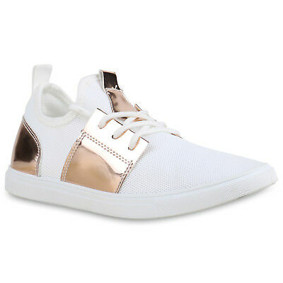 MUST-HAVE DAMEN SCHUHE 138421 SNEAKERS WEISS ROSE GOLD 39 STYLISCH