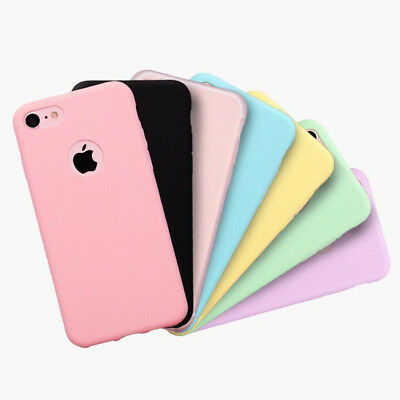 For iphone 5s 6 6s 6plus 7 8 7plus Ultra Thin Candy Color Rubber Case cover
