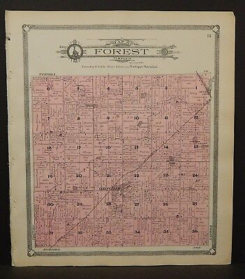 Michigan Genesee County Map Forest Township 1907 L20#85