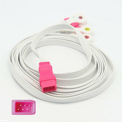 Disposable 5 leads ECG cable with clip IEC 6pin for all brand