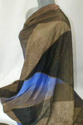 Silky Polyester Rayon Blue Brown Black Geometric Lizard Fabric L 1.5yds W 44 in