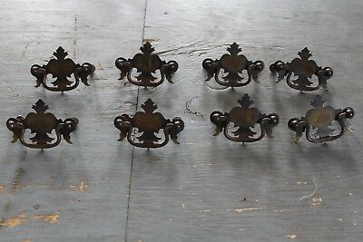 Set Of 8 Antique Chippendale Drawer Pull Hardware Federal Colonial Style Dresser