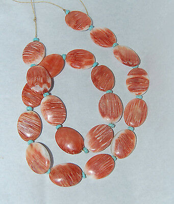 Red Orange Spiny Oyster Shell Flat Oval & Number 8 Turquoise Heishi Beads - 910B