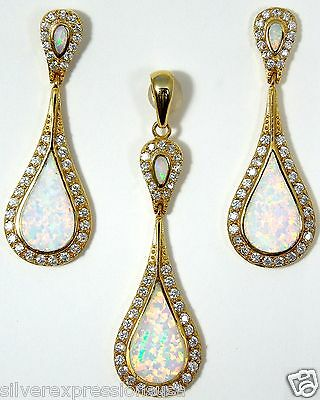 18K Gold Plated 925 Sterling Silver White Fire Opal Inlay Pendant & Earrings set