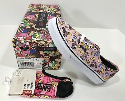 692be6f9af8  New  Vans Authentic Nintendo Princess Peach Kids Size 3 Shoes    Footies Socks