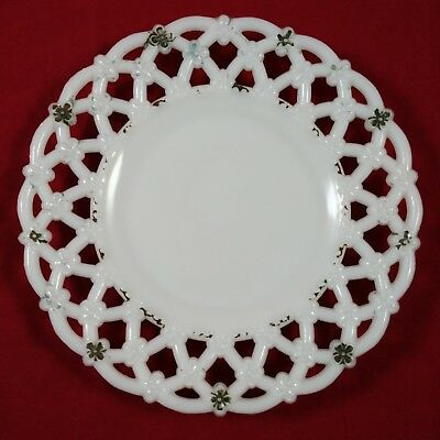 """Rare Painted Milk Glass Triple Forget Me Not Gilded Border 7.25"""" Plate 88"""