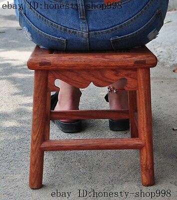 """12"""" chinese Huanghuali wood Hand-Carved wooden bench Chair Seat Stools"""