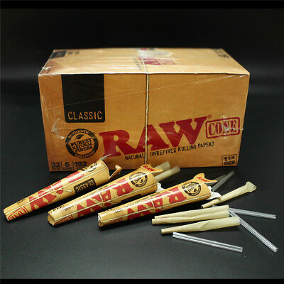 1 Box 32 Pack RAW Classic King Size Rolling Papers Authentic Pre-Rolled Cones