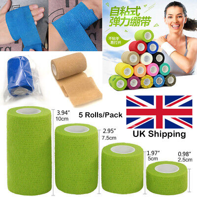 5 Rolls First Aid Medical Health Care Self-Adhesive Elastic Bandage Gauze Tape
