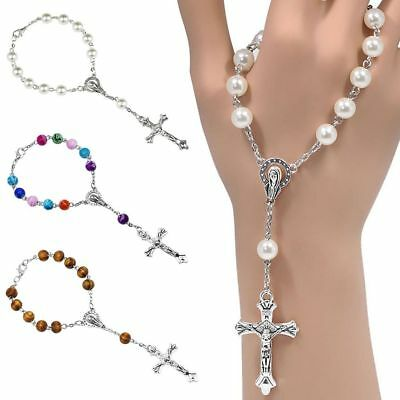 1PCS Catholic One Decade Pocket Rosary Beads Clasp Our Lady of Dolours - 3 Color