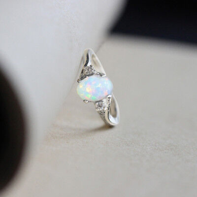 Charm White Fire Opal Sterling Silver Gemstone Jewelry Wedding Engagement Ring