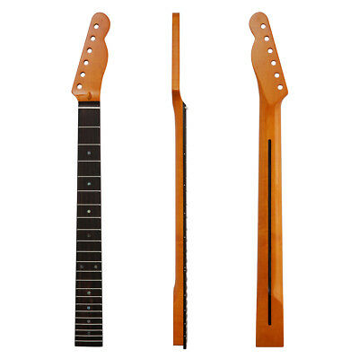 KAISH 22 Frets Dark Yellow Tiger Flame Maple/Rosewood Tele Guitar Neck