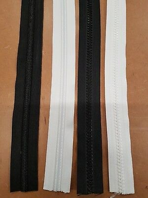 No 10 Heavy Duty Black/white Chunky/coil Continuous Zip ....sold Per Metre....