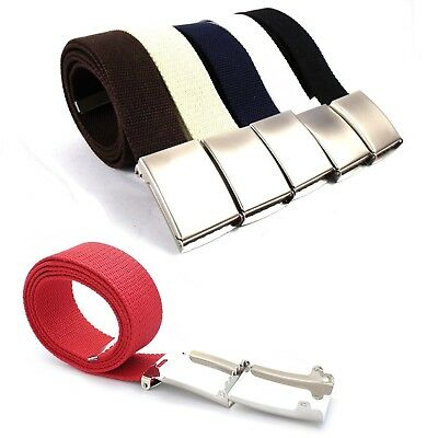 High Quality Webbing Unisex Women Men Plain Belts with Silver Buckle Fabric UK