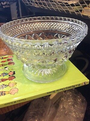 Vintage Pressed Glass Pedastal Base Bowl  Scalloped Edge Diamond Pattern