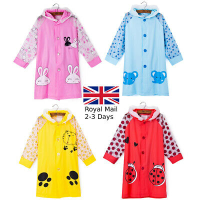 Boys Girls Kids Raincoat 3-10 years PVC Hooded Red Yellow Blue Quality Rain Coat